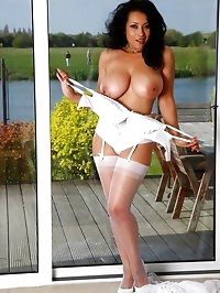 Danica Collins in white lace and nylon stockings and..