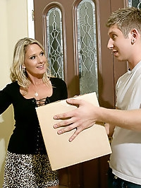 Blonde cougar takes advantage of her young neighbor in the..