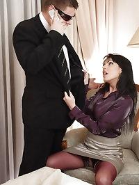 Sexy office slut Catherine screws her horny boss