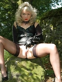 toying in the woods in nylons