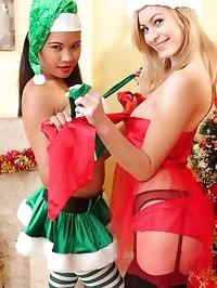 Charley S & Jasmin go festive in their sexy Santa outfits..