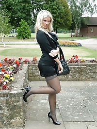 This outdoor shoot shows Kathryns gorgeous high heels off..