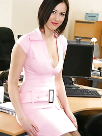 Naughty Secretary Carole in pink minidress, knee high..