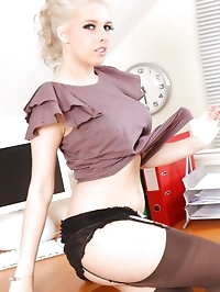 Holly M knows how to please her boss and strips out of her..