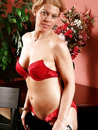 Elegant 48 year old Lauren E showing off her red bra and..