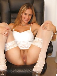 Rio in high heels and sexy white stockings spreading her..