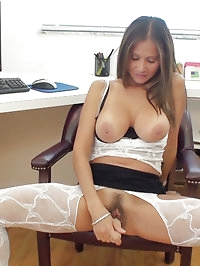 Rio gets a facial while she spreads her pussy and fucks..