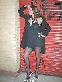 Nylon jane outside posing in dark alleyway very sexy