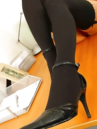 Lily S wearing her secretary outfit with black stockings &..
