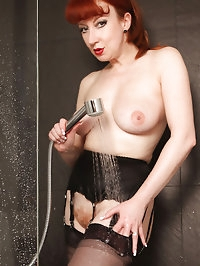 Huge suction dildo shower fuck fest