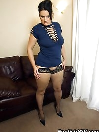 Horny big ass milf in fishnet thigh high stockings shows..