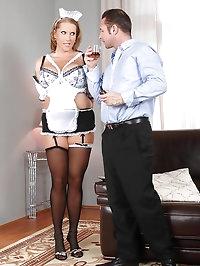 Big tittie maid rides the pony!
