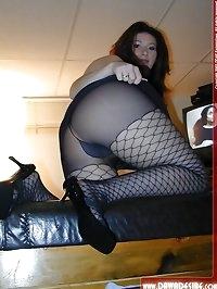 Babe enjoys her black fishnet pantyhose
