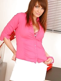 Amy looks stunning in her cute white skirt suit with clear..
