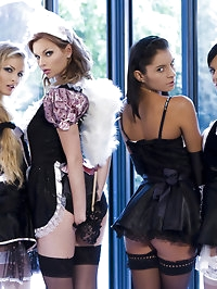 Four sexy maids ready to do their nasty job