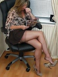 office chick nylon tease