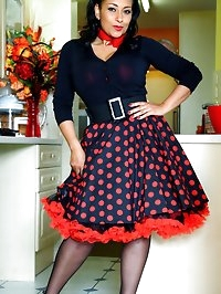 Danica in vintage lace petticoats with ff stockings and..