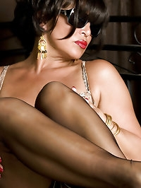 Lusty beauty wears animal print lingerie