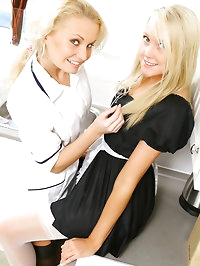 Nurse Karen and maid Lucy Anne get together for double the..