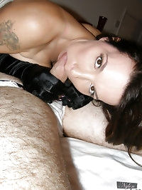 Masked man gets horny foot and blow job from Nylon Jane