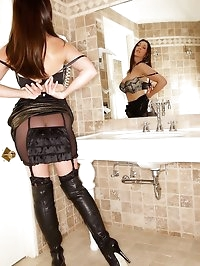 Miss Hybrid in nylons and thigh boots