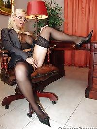 Blonde mature busty office secretary Helena Sweet