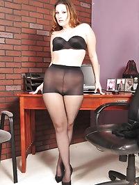 Beauty has black bra and pantyhose