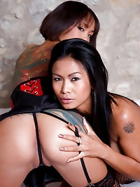 Two Asian babes eating thick cock and fuck